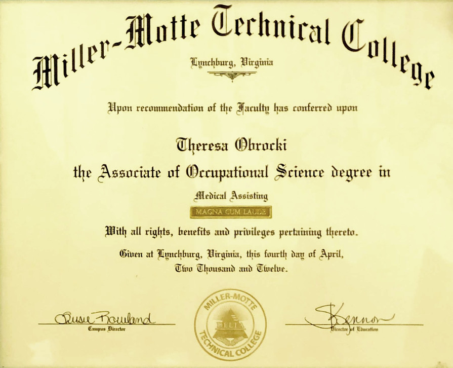 Miller-Motte Technical College Associate of Occupational Science Degree in Medical Assisting