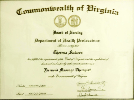 Board of Nursing License to Practice Massage Therapy