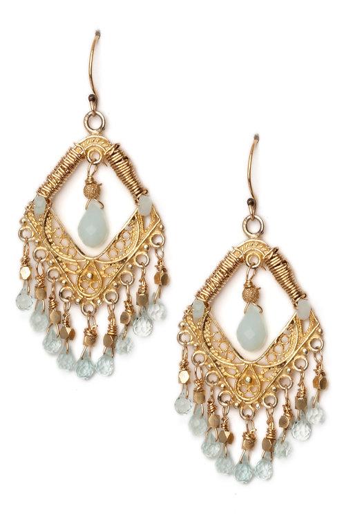 Peruvian Opal and Aquamarine Chandelier Earrings