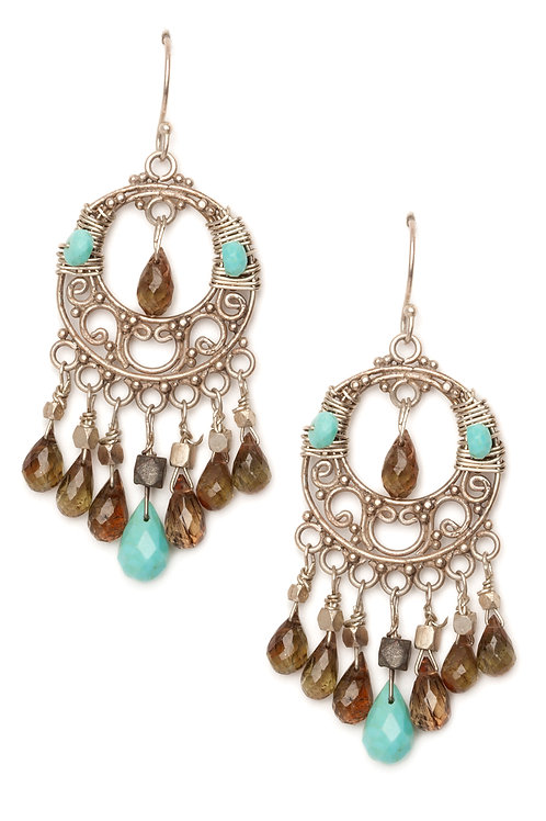 Smoky Quartz and Turquoise Chandelier Earrings