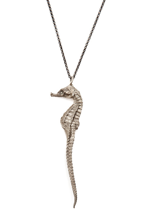 Large Sterling Seahorse with Sapphire Eye