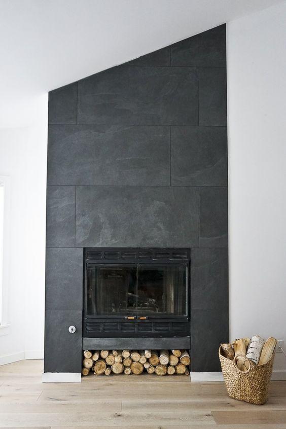 black fireplace, interior design, d+v studio, clean modern design