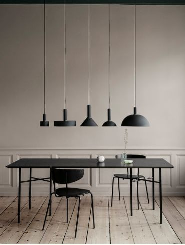 black dining table, light fixture, dining room, interior design, modern design, d+v studio