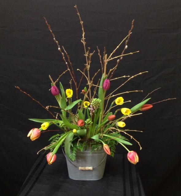 Spring Arrangment in Tin