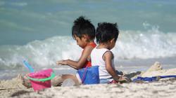 Playing on Progreso beach, Yucatan, Mexico