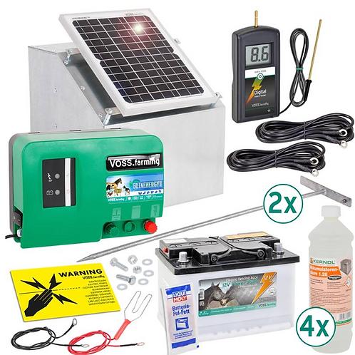 12W zonne-energie systeem + metalen kast + 12V green Energy + 85Ah accu