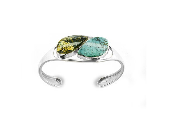 Green Amber / Turquoise Cuff
