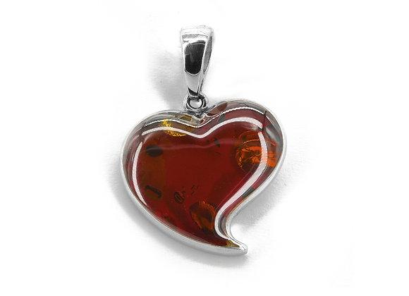 Dark Honey Amber Heart pendant