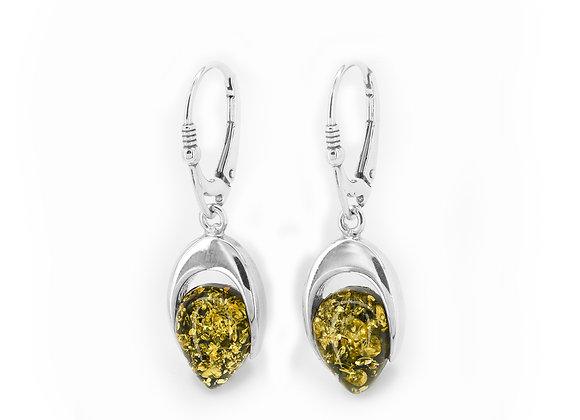 Green Amber Single Drop Earrings