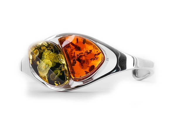 Honey / Green Amber Cuff Bracelet