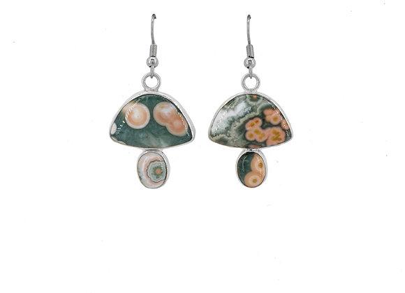 Pink Moss Ocean Jasper Earrings