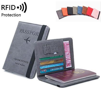 RFID Travel Passport Cover Wallet Unisex Multifunction Credit Card Elastic Band
