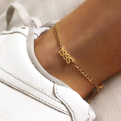 1980-1998 Birth Year Anklet Leg Bracelet Jewelry Stainless Steel Rose Gold
