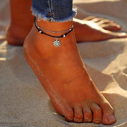 Vintage Boho Multi Layer Sun Anklet Ankle Bracelet
