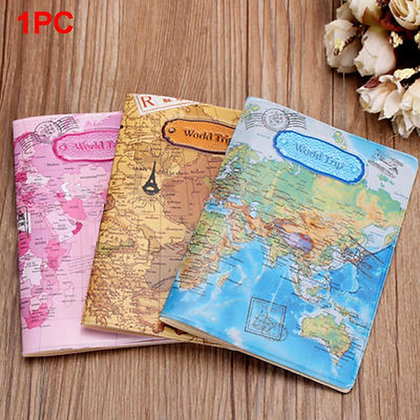 World Map Travel Passport Cover PVC Holder Travel Passport Cover