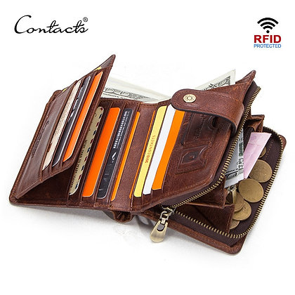 CONTACT'S Genuine Leather RFID Vintage Wallet Men With Coin Pocket Short