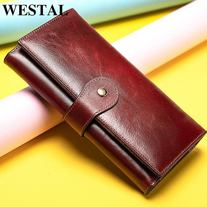 WESTAL Women's Wallet Genuine Leather Clutch Long for Phone/Cards Lady Wallets