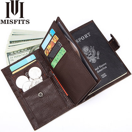 Genuine Leather Cover for Male Large Capacity With Card Holder Coin Purse