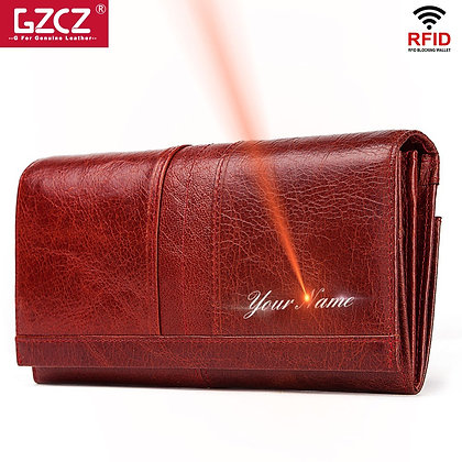 GZCZ Genuine Leather Wallet Women Fashion Handmade Coin Female Clutch Women
