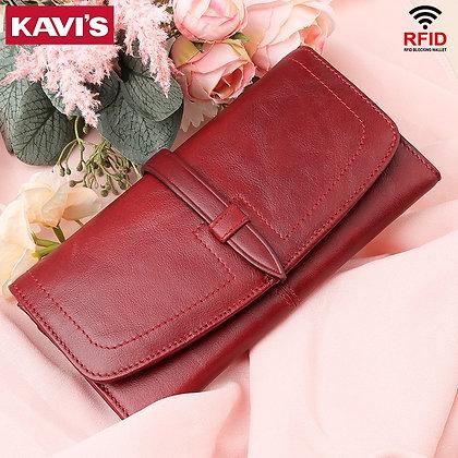 KAVIS Rfid Fashion Women Wallets Genuine Leather Zipper Wallet
