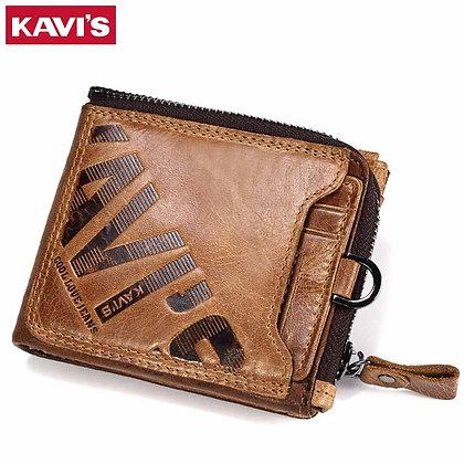 KAVIS Crazy Horse Genuine Leather Wallet Men Coin Purse Male Cuzdan Wallet