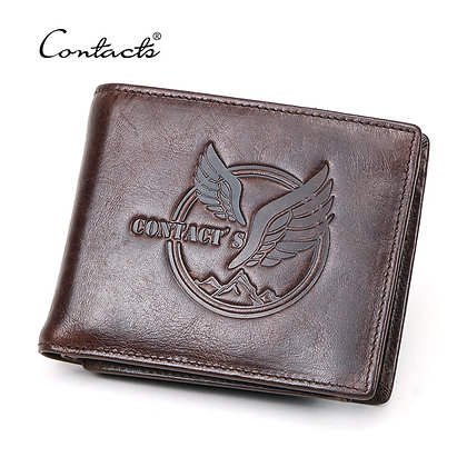 CONTACT'S NEW 100% Genuine Leather Wallet Men Small Coin Short Male Wallets