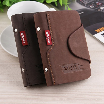 BOVIS Vintage Credit Card Holder Luxury Leather 20 Card Slot