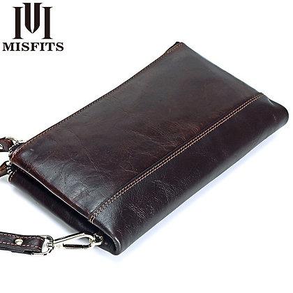 MISFITS Men Brand Organizer Wallets Genuine Leather Double Zipper