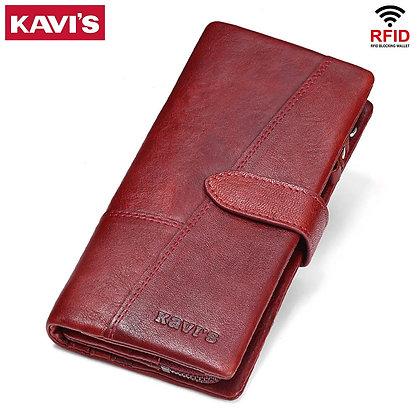 KAVIS Genuine Leather Women Wallet Female Long Clutch Lady Wallet