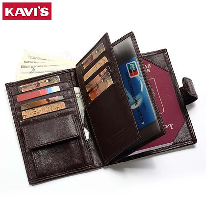 KAVIS Genuine Leather Wallet Men Passport Holder Coin Purse Magic Walet