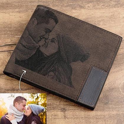 Custom Picture PU Leather Wallet Men's Bifold Custom Inscription Photo Engraved