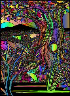 Surreal, Tree, Rainbow    CCO