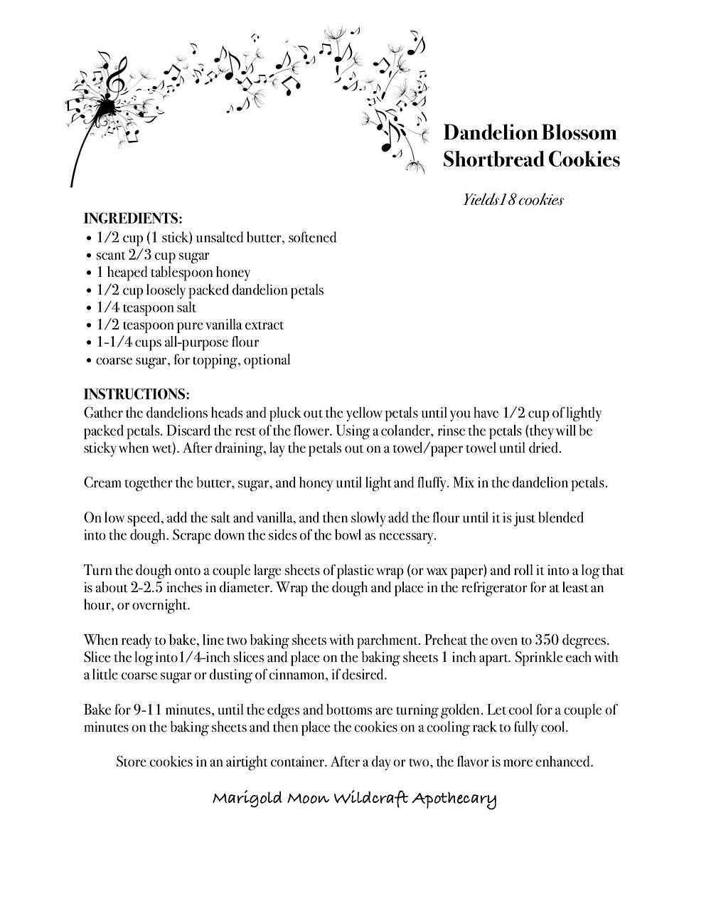 Dandelion Blossom Shortbread Cookies