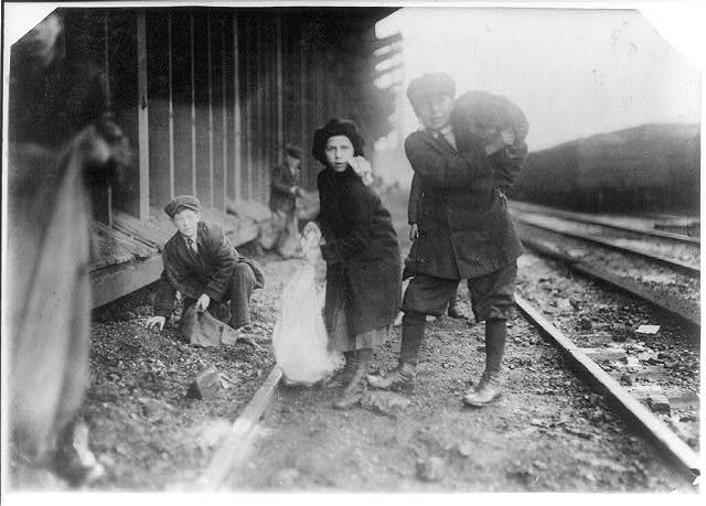 Children Stealing Coal, RR, Boston, Lewis Hines