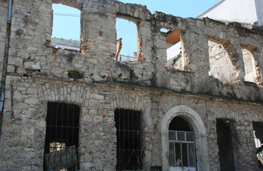 Building destruction from Bosnian War, Mostar, Bosnia