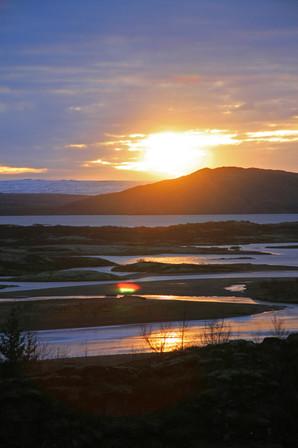 11am sunrise in November, Thingvellir National Park, Iceland