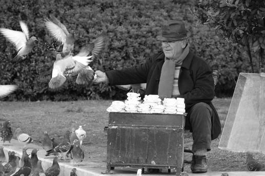 Feeding his friends, Paris, France
