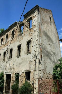 Building destruction from Bosnian War, Mostar, Bosnia