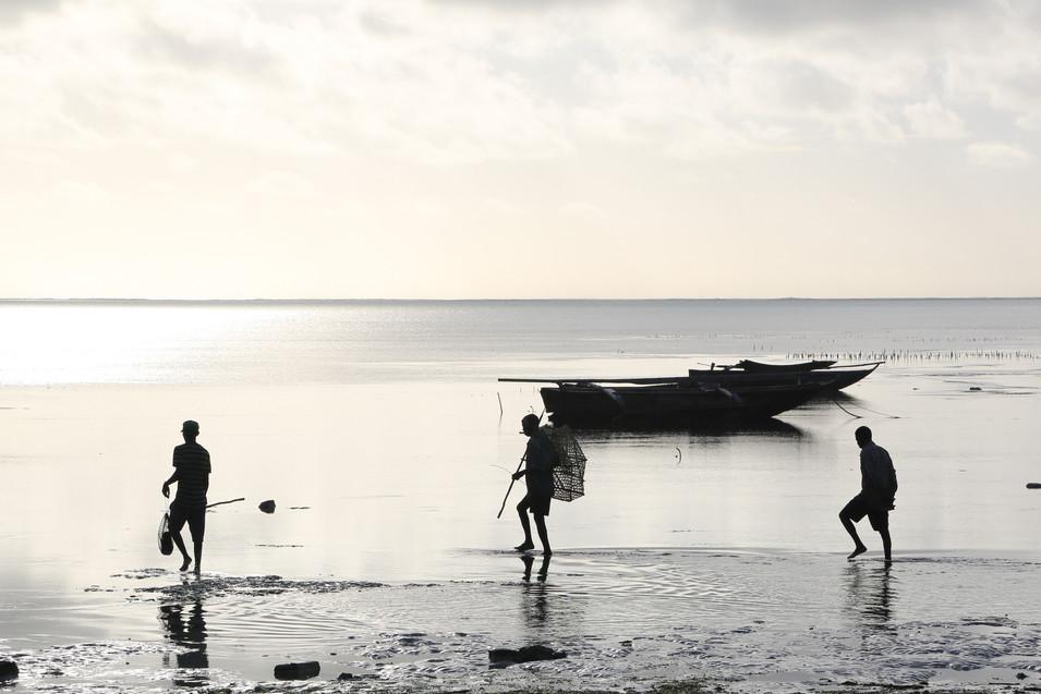 Fishermen leave for work, Jambiani, Zanzibar