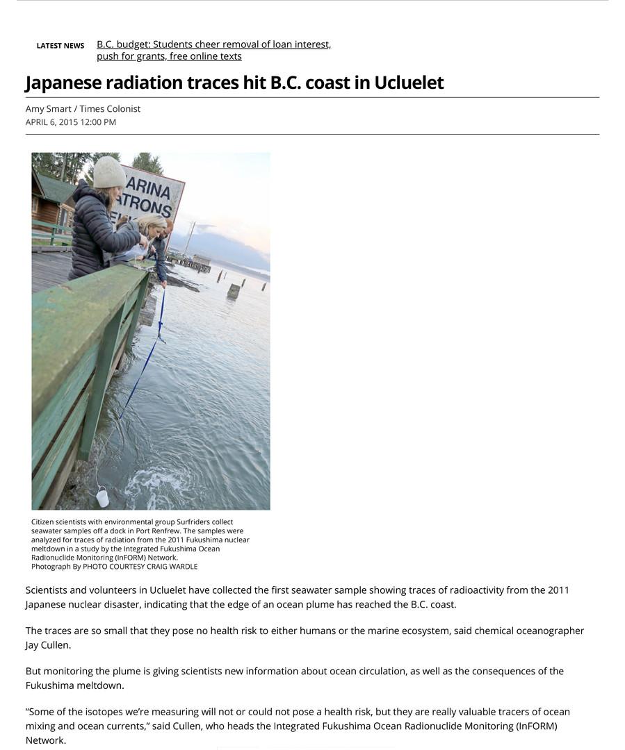 Japanese radiation traces hit B.C. coast