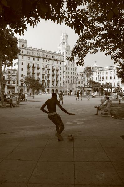 Playing football, Havana, Cuba