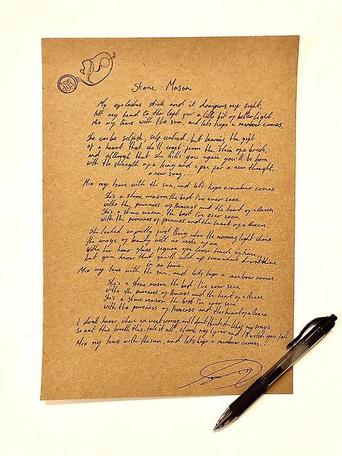 Hand Written Lyric Sheets