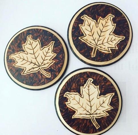 Circular Maple Leaf Coasters