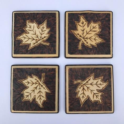 Angled Maple Leaf Coasters