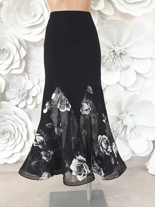 Ballroom Skirt with Black White Flower