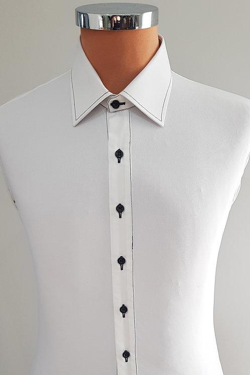 camicia bianca cuciture nere