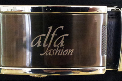Cintura fibbia grigia con logo