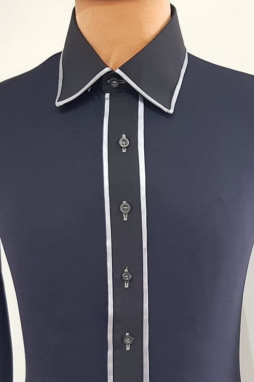camicia nera bordata grigio
