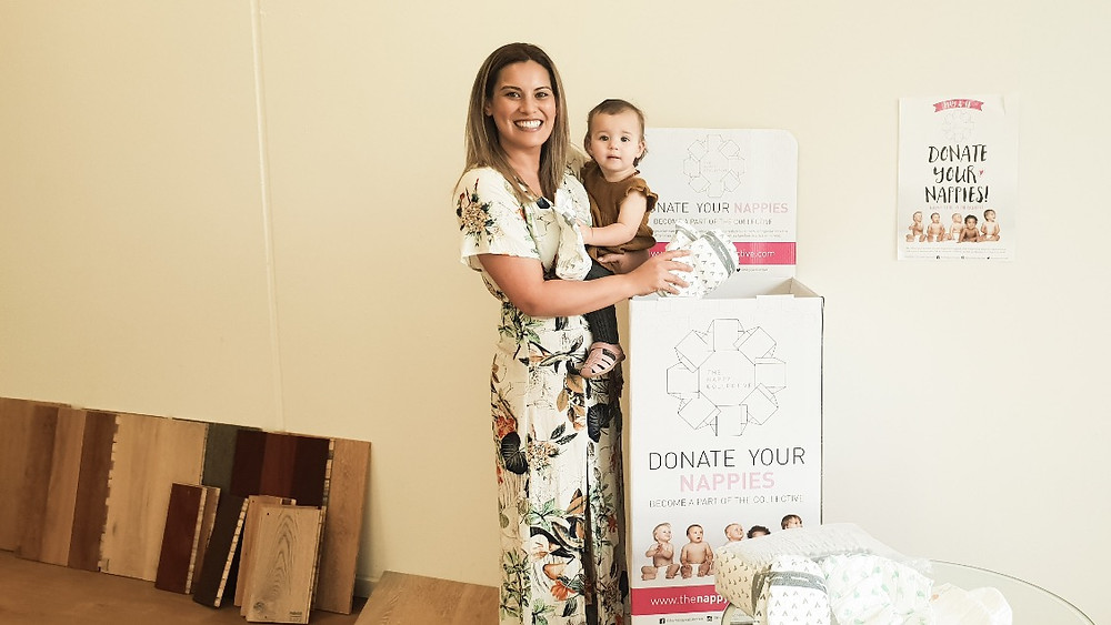 Sharon from Chance of Grace with Kaylee, 1, proudly supporting The Nappy Collective at Kayson Floors, Woori Yallock