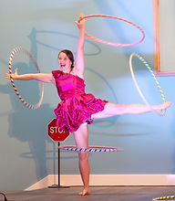 Natasha Wind performing hula hoops at Circus Show and Have a Go, July 2016